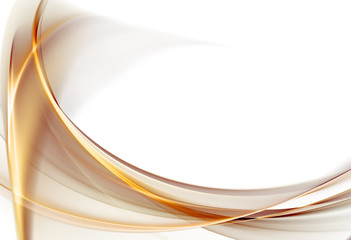 Elegant abstract gold waves on white background