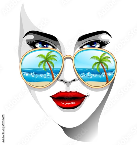 Tropical Girl with Sunglasses-Ragazza e Occhiali da Sole Tropici
