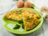 omelette with onions and leek, selective focus