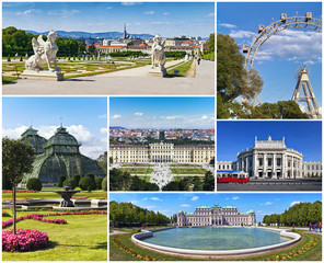 Collage with famous landmarks and buildings of Vienna