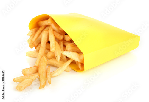 French fries in paper bag isolated on white