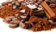 Composition of chocolate sweets, cocoa and spices, isolated