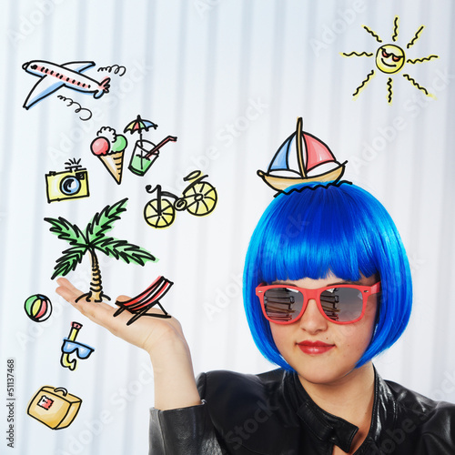 girl with blue wig dreaming of vacation