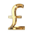 Golden 3D pound symbol with clipping path