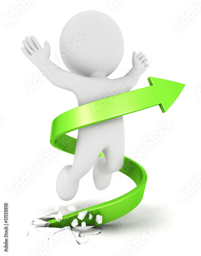 3d white people success arrow