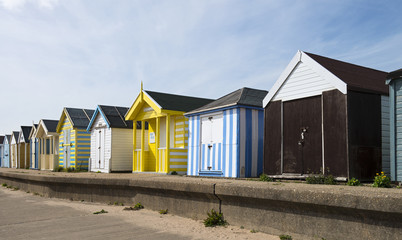 Colorful Beach Huts at Chapel St Leonards, Lincolnshire, UK.
