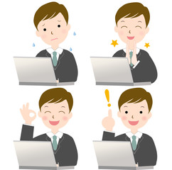 パソコンパソコン スーツを着た男性 サラリーマン 表情 セット