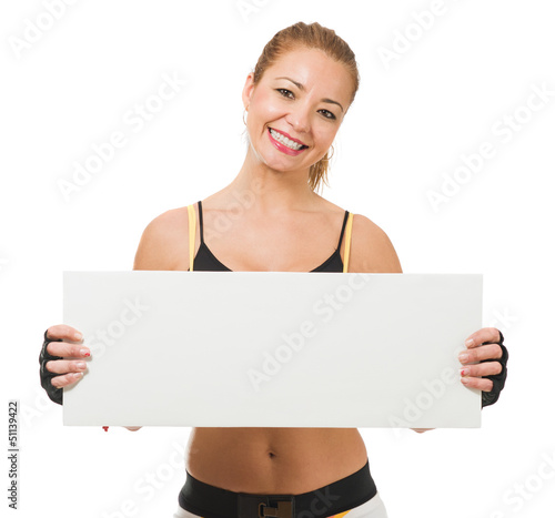 Healthy Mid-adult Woman Holding Placard
