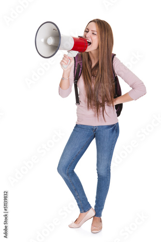 Female Student Shouting In Megaphone