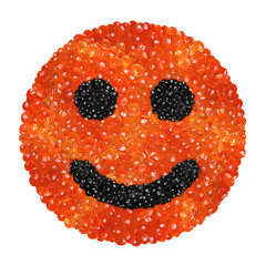 Red and black caviar in the form of a smiling face
