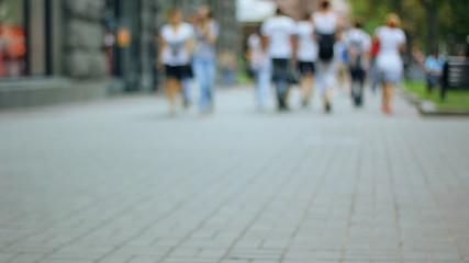 people, crowd, street background
