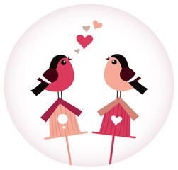 Cute Birds in love sitting on Birdhouses - retro vector
