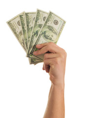 Close-up Hand Holding Us Dollars