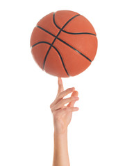Close-up Of Hand Spinning Basket Ball
