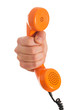 Close-up Hand Holding Telephone Receiver