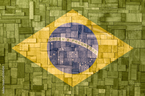 Brazilian flag on a wooden Texture