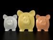 Piggy bank - gold silver bronze