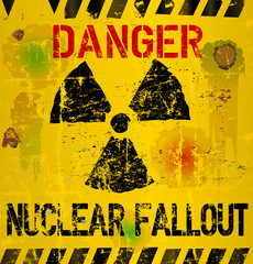 nuclear fallout warning sign,vector illustration