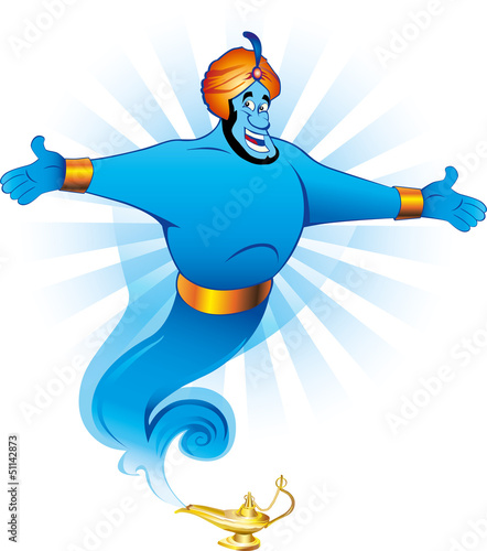 Magic genie granting the wish