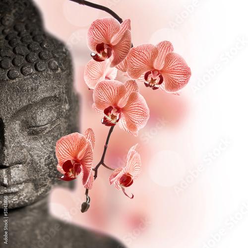 Obraz na płótnie Bouddha et orchidée rouge
