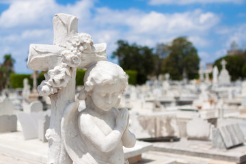 Statue of a praying cherub on a cemetery