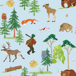 Vector seamless hunting pattern with different wild animals
