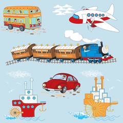 Vector seamless pattern with cartoon vehicles