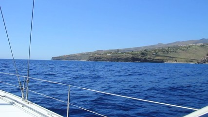 Sailing on yacht around La Gomera island. Canary islands.