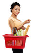Pregnant woman with shopping basket