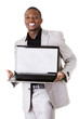 Happy businessman with laptop.