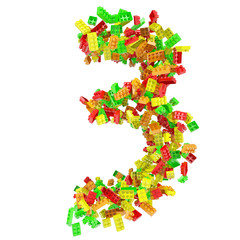 The number is made up of children's blocks