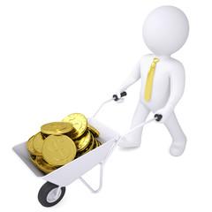3d white man carries a wheelbarrow of gold coins