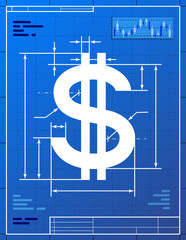 Dollar sign like blueprint drawing