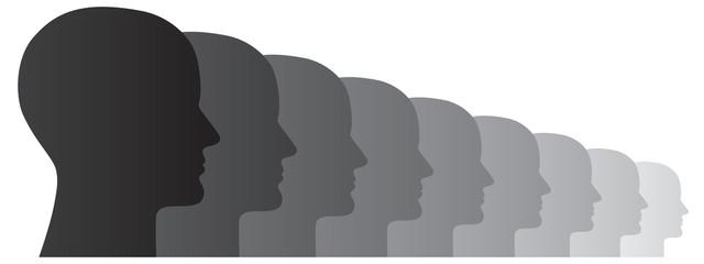Abstrakte und perspektivische Darstellung einer Menschengruppe