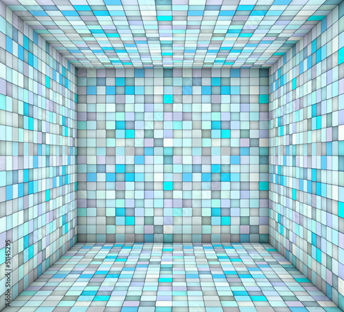 blue mosaic square tiled empty space