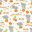 Baby seamless pattern of  cute little elephant .