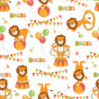 Baby seamless pattern of  cute little lion