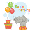 Colorful illustration of cute elephant with balloons