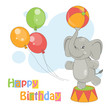 Colorful illustration of cute elephant with ball