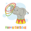 Colorful illustration of cute elephant playing with hula hoop.
