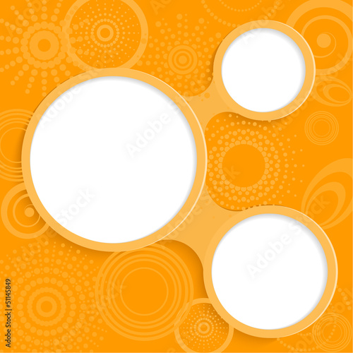 Whimsical orange background with round elements for information