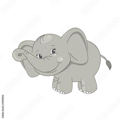 Cute baby elephant smiling.