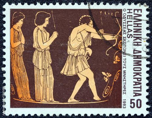Odysseus slaying suitors (Greece 1983)