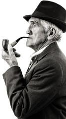 Closeup portrait of a senior smoking a pipe