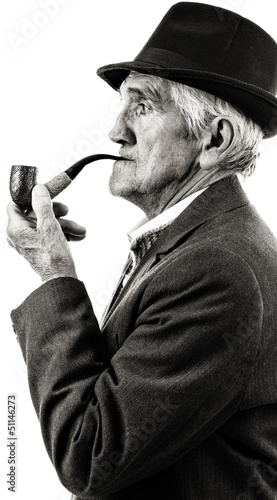 Closeup portrait of a senior smoking a pipe