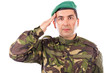 Young army soldier saluting isolated