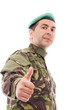 Young army soldier with thumb up