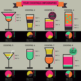 Vector cocktails infographic - 8 cocktails recipes