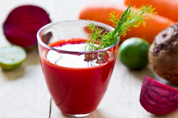 Beetroot with Carrot and Lime juice