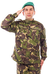 Young army soldier saluting